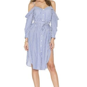 NWT Bardot Paloma Cold Shoulder Striped Dress S